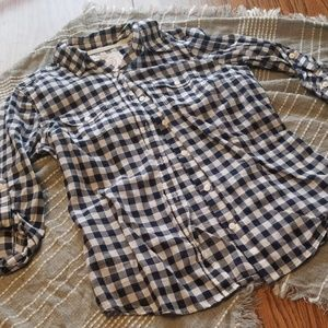 SO perfect shirt navy white plaid button up